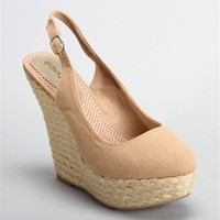 Beige Canvas Wedge
