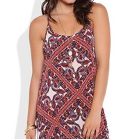 All over boho print spaghetti strap racerback slip day dress