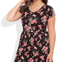 Plus Size Floral Print Babydoll Dress with Cap Sleeves