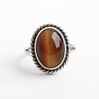 Vintage Sterling Silver Tiger's Eye Ring - Retro 1970s Size 6 1/2 Brown Gem Cabochon Jewelry