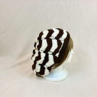 Slouch Beanie Striped Grunge Hat Brown Cream Baggy Chevron Dread Knit Large Slouchy White Boho