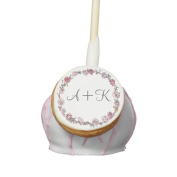 Pink Rose Wreath Monogram Wedding Cake Pop