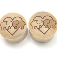 "100% Handmade ""Elephants In Love"" Organic Wood Plugs - You Choose Color/Type of Wood and Size from 0g - 30mm"