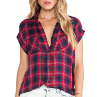 Rails Britt Short Sleeve Button Down in Red