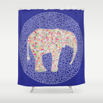 Elephant Circle Shower Curtain by Ornaart