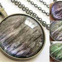 Purple Borealis - Circle Necklace - Science Jewelry - Galaxy Jewelry - Physics Jewelry - Planet Jewelry - Galaxy Necklace - Glass jewelry