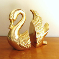 Vintage Brass Swan Bookends Gold Swan Book Ends Heavy Bird Bookends