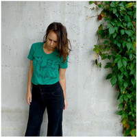 SALE  tshirt for women  green  xl  industrial by blackbirdtees