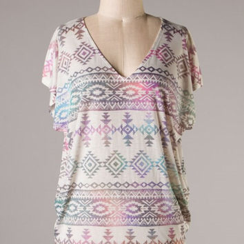 Purple and Turquoise Aztec Dolman Top