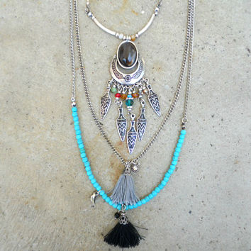 Thread and River Tassel Necklace [5844] - $21.00 : Vintage Inspired Clothing & Affordable Dresses, deloom | Modern. Vintage. Crafted.