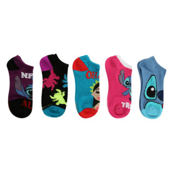 Disney Lilo Stitch No-Show Socks 5 Pair