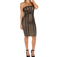 Black Strapless Mesh Overlay Dress