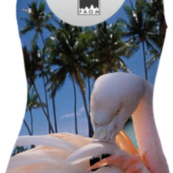 Pink Flamingo and Tropical Beach Swimsuit created by ErikaKaisersot | Print All Over Me