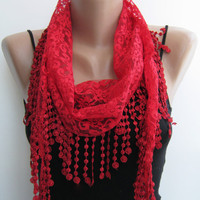 Lace scarf red summer scarf handmade scarf by sascarves on Etsy