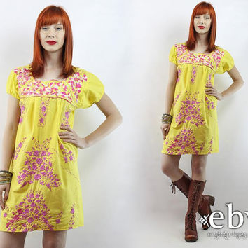 Vintage 70s Embroidered Mini Dress S Yellow Mexican Dress Embroidered Dress Hippie Dress Hippy Dress Boho Dress Festival Dress Summer Dress