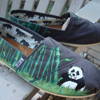 Panda eatting bamboo painted on TOMS shoesmade to by ArtfulSoles