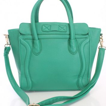 Green Faux Leather Stylish Tote Handbag
