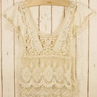 Off-white Print Top - Retro Crochet Top | UsTrendy