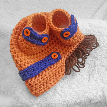 Denver Bronco Baby hat and shoes, NFL team colors, baby shower gift, baby shoes, baby wig
