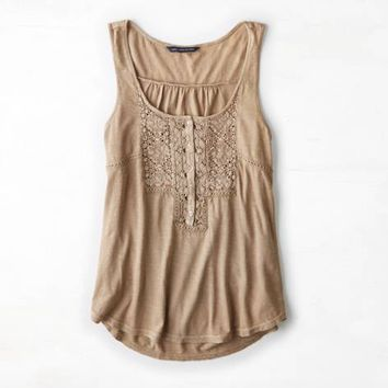 AEO LACE FRONT HENLEY TANK