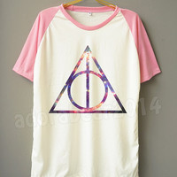 Galaxy Deathly Hallows T-Shirt Harry Potter T-Shirt Galaxy T-Shirt Short Sleeve Short Baseball Tee Unisex T-Shirt Women T-Shirt Men T-Shirt