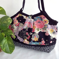 Japanese Kimono Pattern Granny bag purse flowers black by MofLeema