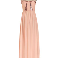 ModCloth Long Strapless Maxi Stop! Glamour Time Dress in Petal