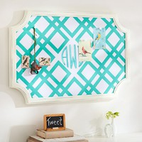 Scallop Framed Monogram Pinboard, Ribbon Geo, Pool
