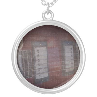 Guitar pickups grunged music faded pendant