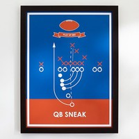 QB Sneak, Sport Poster Framed Art