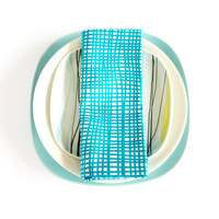 Cotton Napkin in White and Turquoise Lines. Set of Two. Set of 2. Stripes Napkins. Squares Napkins. Scandinavian design. Spring Summer.