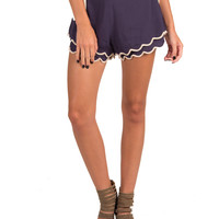 Lush Clothing - Double Layered Scalloped Shorts