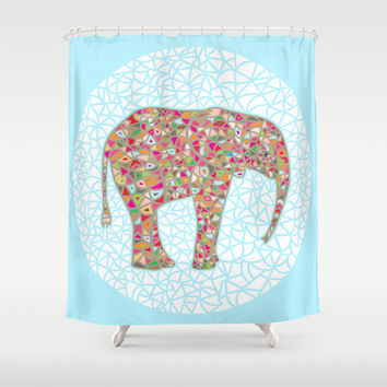 Elephant Circle #2 Shower Curtain by Ornaart
