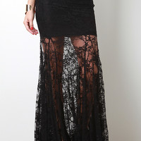 Flowy Lace Maxi Skirt