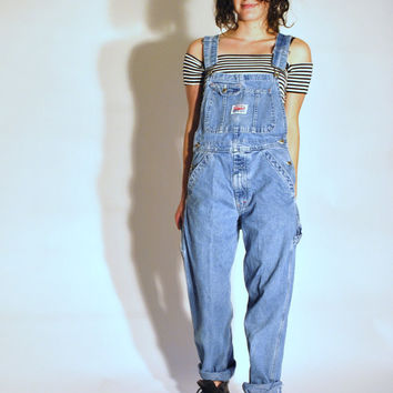 80s light wash IKEDA overalls / medium grunge dungarees