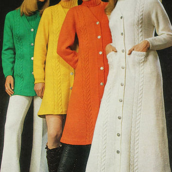 Vintage sweater coat pattern PDF Instant Download 4 PATTERN LOT knitted crochet Coat Jacket cloak knitted supplies epsteam knitting pattern