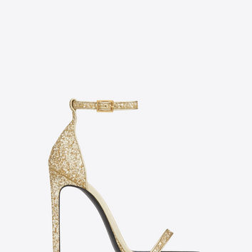 CLASSIC JANE 110 ANKLE STRAP SANDAL IN Gold Glitter Fabric