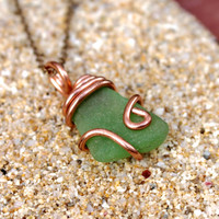Sea Glass Jewelry, Seaglass Wire Wrap Pendant, Bohemian Necklace, Boho Jewelry made in Hawaii ocean inspired gypsy necklace Hawaiian Jewelry