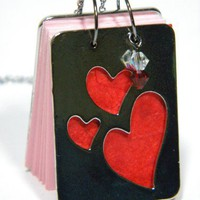 Silver Cut Out Heart Book Necklace with Swarovski Crystals on a 20 inch Chain | CraftyDayDreams - Jewelry on ArtFire