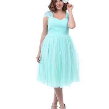 Unique Vintage Plus Size Mint Green Garden State Mesh Cocktail Dress - Plus Size - Clothing