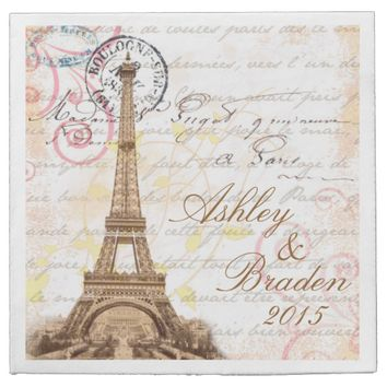 Paris Vintage French Writing Pink Wedding Napkins