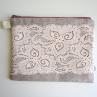 Lace and Linen Pouch waterproof lining by handmadephilosophy