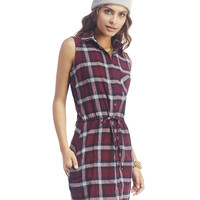 April Plaid Sleeveless Shirt Dress | Wet Seal