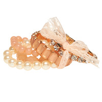 Lacey Bow & Pearls Bracelet Set | Wet Seal