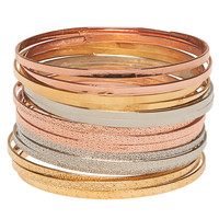 Mixed Metal Bangle Set | Wet Seal
