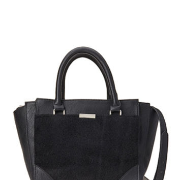 Faux Leather & Calf Hair Satchel