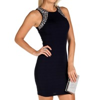 Navy Banded Jeweled Dress