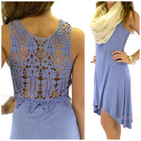 Huntington Blue Crochet Back Hi-Lo Dress