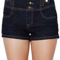 Papaya Clothing Online :: TRI BUTTON DENIM SHORTS