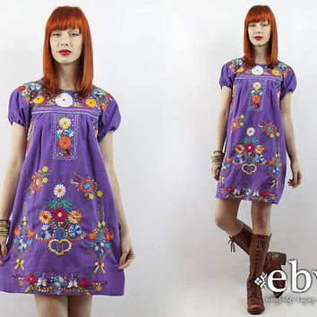 Vintage 70s Embroidered Mini Dress S M Lavender Mexican Dress Embroidered Dress Hippie Dress Hippy Dress Boho Dress Festival Dress